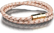 Leather Bracelet Gold 4MM - Natural